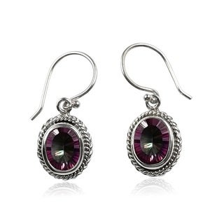 Sterling Silver Bali Faceted MysticTopaz Oval Dangle Earrings (Indonesia)