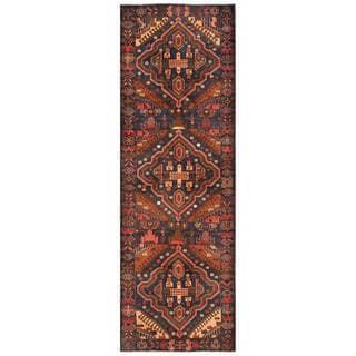Semi-antique Afghan Hand-knotted Tribal Balouchi Navy/ Light Brown Wool Rug (3'3 x 9'10)