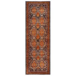 Semi-antique Afghan Hand-knotted Tribal Balouchi Copper/ Navy Wool Rug (3'6 x 10'5)