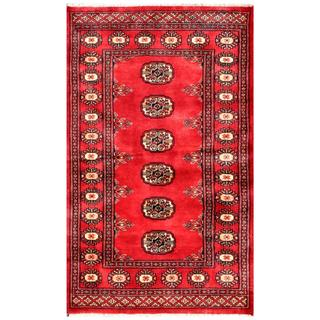 Pakistani Hand-knotted Bokhara Red/ Ivory Wool Rug (2'7 x 4'3)