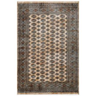 Pakistani Hand-knotted Bokhara Tan/ Ivory Wool Rug (6' x 9')