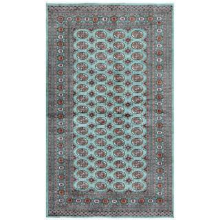 Pakistani Hand-knotted Bokhara Turquoise/ Ivory Wool Rug (5'2 x 8'4)