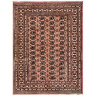 Pakistani Hand-knotted Bokhara Rose/ Ivory Wool Rug (5'9 x 7'5)