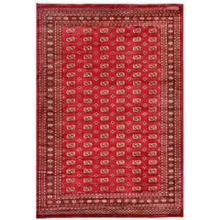 Pakistani Hand-knotted Bokhara Red/ Ivory Wool Rug (7'2 x 10'1)
