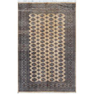 Pakistani Hand-knotted Bokhara Tan/ Ivory Wool Rug (6' x 9'2)