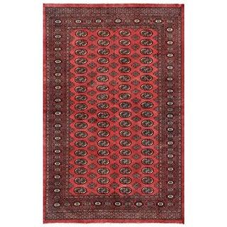 Pakistani Hand-knotted Bokhara Red/ Ivory Wool Rug (5'2 x 8')