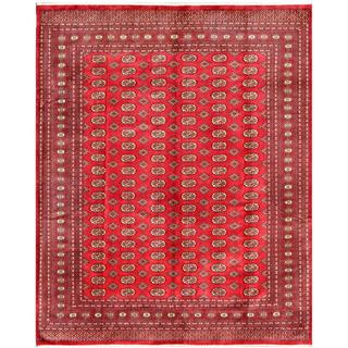 Pakistani Hand-knotted Bokhara Area Rug Red/ Ivory Wool Rug (7'3 x 10'2)