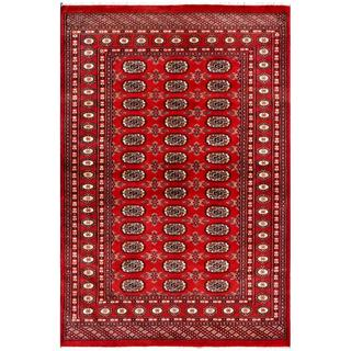 Pakistani Hand-knotted Bokhara Red/ Ivory Wool Rug (4'2 x 6'2)