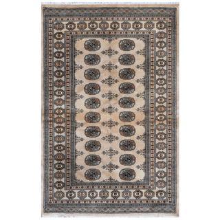 Pakistani Hand-knotted Bokhara Tan/ Ivory Wool Rug (4'3 x 6'3)
