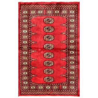 Pakistani Hand-knotted Bokhara Red/ Ivory Wool Rug (2'8 x 4'1)