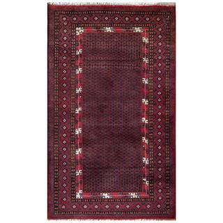 Semi-antique Afghan Hand-knotted Tribal Balouchi Purple/ Red Wool Rug (2'9 x 4'9)