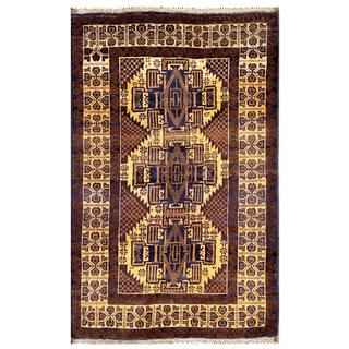 Semi-antique Afghan Hand-knotted Tribal Balouchi Brown/ Gold Wool Rug (3' x 4'7)