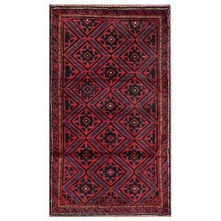 Semi-antique Afghan Hand-knotted Tribal Balouchi Red/ Purple Wool Rug (2'6 x 4'6)