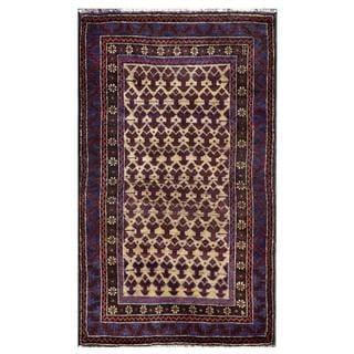 Semi-antique Afghan Hand-knotted Tribal Balouchi Burgundy/ Beige Wool Rug (2'9 x 4'7)