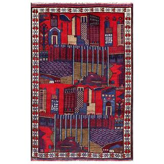 Semi-antique Afghan Hand-knotted Tribal Balouchi Red/ Blue Wool Rug (3' x 4'6)