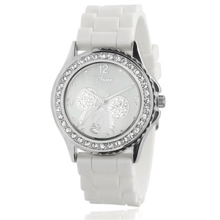 Disney Mickey Mouse Women's Rhinestone-accented Silicon Watch