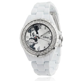 Disney Minnie Mouse Women's Rhinestone-accented Analog Link Watch