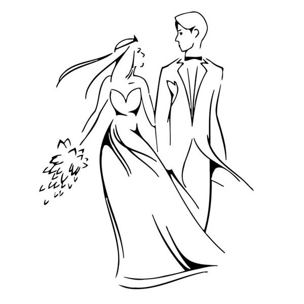 Wedding Groom & Bride Vinyl Wall Decal