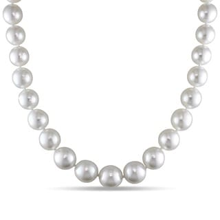 Miadora 14k Yellow Gold South Sea White Pearl Necklace (10-14 mm)