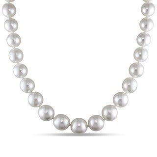 Miadora Signature Collection 14k Yellow Gold South Sea White Pearl Necklace (10-14 mm)