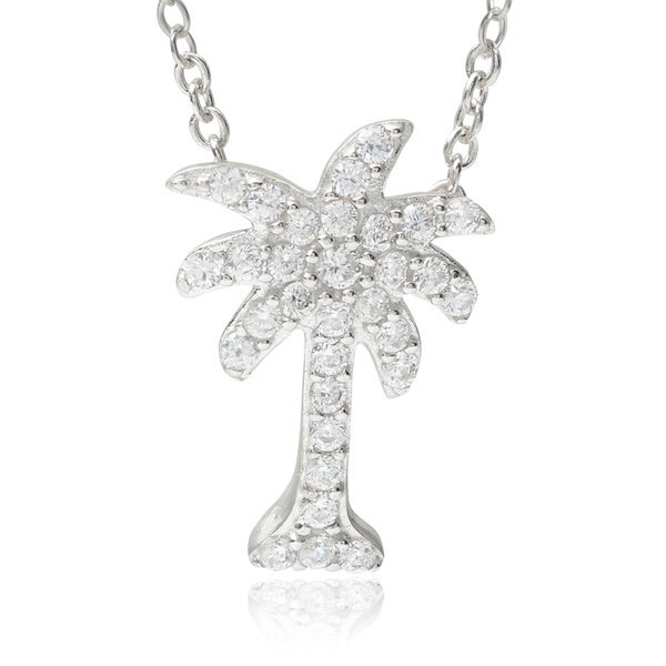 Journee Collection Sterling Silver Cubic Zirconia Palm Tree Pendant 12899991