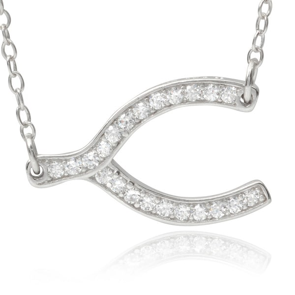 Journee Collection Sterling Silver Cubic Zirconia Wishbone Pendant 12899994