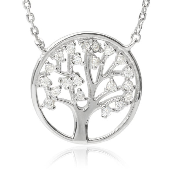 Journee Collection Sterling Silver Cubic Zirconia Tree of Life Pendant