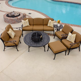 Heritage Bronze 7-piece Cast Aluminum Patio Set with BBQ/Fire Pit Table and Ice Bucket Insert