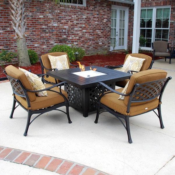 Heritage 5 Piece Cast Aluminum Patio Deep Seating Set With Gas Fire Pit Table