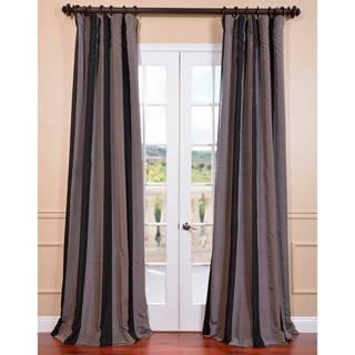 Ultra Lux Blackout Black Mink Taffeta Stripe Curtain Panel
