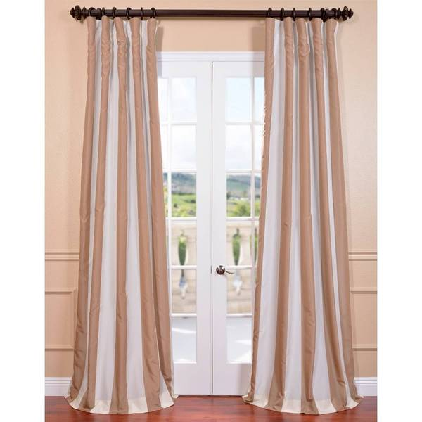 Ultra Lux Blackout Creme Nougat Taffeta Stripe Curtain Panel