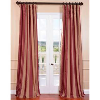 Ultra Lux Blackout Ruby Wine Taffeta Stripe Curtain Panel