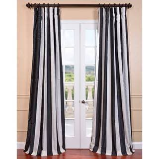 Ultra Lux Blackout Dark Charcoal Taffeta Stripe Curtain Panel