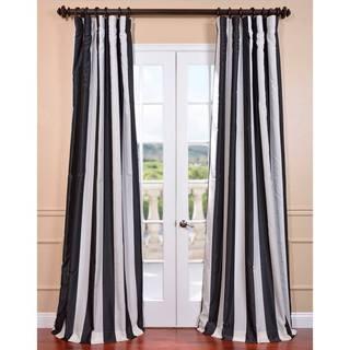 Ultra Lux Blackout Dark Charcoal Taffeta Stripe Curtain Panel