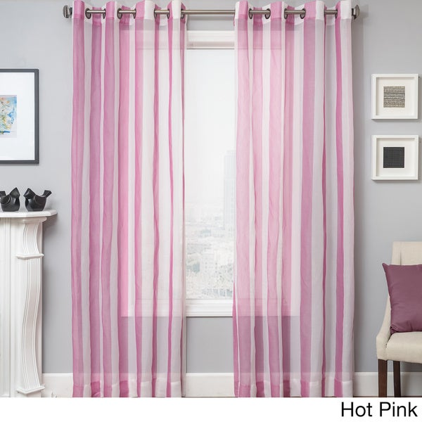 Milbrey Stripe Grommet Top Sheer Curtain Panel