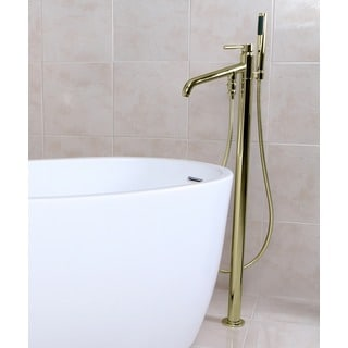 Polished Brass Floor-mount Bathtub Filler with Handshower