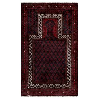 Herat Oriental Semi-antique Afghan Hand-knotted Tribal Balouchi Red/ Navy Wool Area Rug (2'9 x 4'6)
