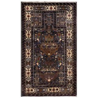 Semi-Antique Afghan Hand-knotted Tribal Balouchi Navy/ Beige Wool Rug (2'10 x 4'11)