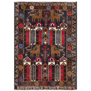 Herat Oriental Semi-antique Afghan Hand-knotted Tribal Balouchi Navy/ Brown Wool Rug (2'11 x 4'3)