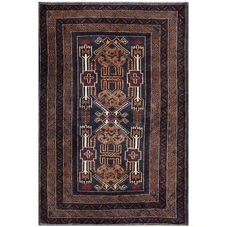 Semi-Antique Afghan Hand-knotted Tribal Balouchi Navy/ Brown Wool Rug (3' x 4'10)