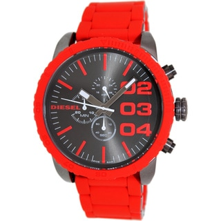 Diesel Men's Chronograph Gunmetal/ Red Silicone Strap Watch