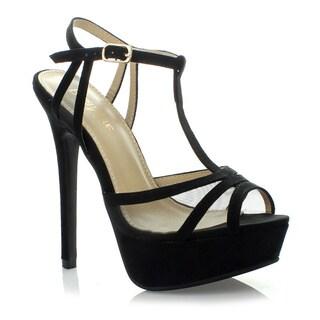 Anna Women's 'Story-1' Black T-strap Platform Sandals