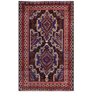 Semi-antique Afghan Hand-knotted Tribal Balouchi Navy/ Purple Wool Rug (2'11 x 4'9)