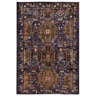 Herat Oriental Semi-antique Afghan Hand-knotted Tribal Balouchi Navy/ Brown Wool Area Rug (3'1 x 4'7)