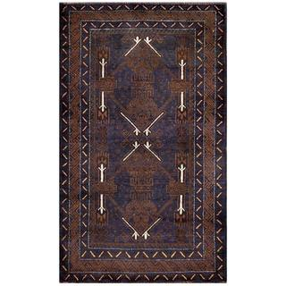 Herat Oriental Semi-antique Afghan Hand-knotted Tribal Balouchi Navy/ Brown Wool Rug (2'9 x 4'8)