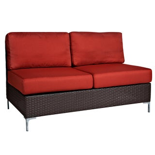 angelo:HOME Napa Springs Resin Wicker Tulip Red Armless Loveseat Indoor/Outdoor Resin Wicker