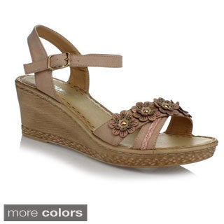 Via Pinky Women's 'Tilly-25' Low Wedge Floral Accent Sandals