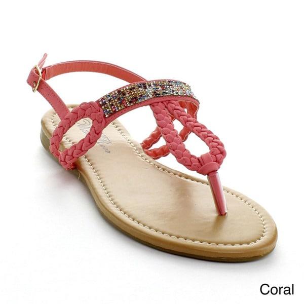 Wildrose Women's 'Xanthia-12' Braided Rhinestone-embellished Sandals
