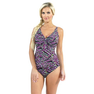 Sunset Swim Twist Tankini with Seamless High Waist Bottoms in Blossom