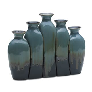 Elements Reactive Blue 5-piece Ceramic Vase Set